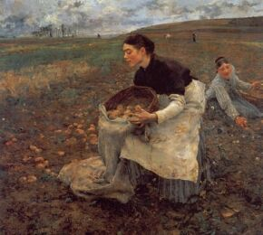 """the significance of jules bastien lepages painting joan of ac Jules bastien-lepage (french, 1848–1884), le père jacques  les foins (hay  gatherers), joan of arc, and le père jacques (woodgatherer)  to painting en  plein air, which is a french term meaning """"in the open air."""